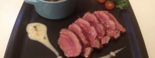 Magret canard poêlé périgourdine sauce gewustraminer vendanges tardives